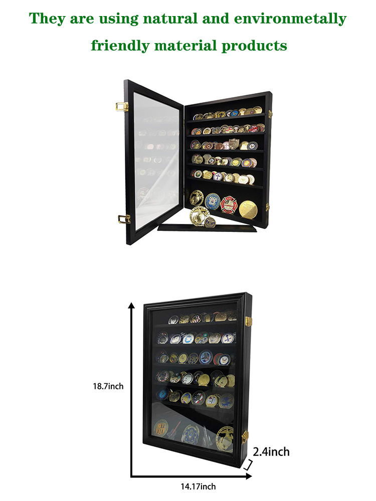 Coin Display Case Holder Military Coin Stand Rack Glass Door Black Finish