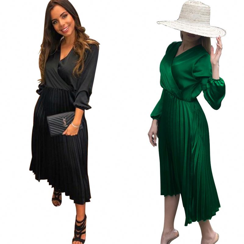 2019 Ladies High Quality 3/4 Sleeve Black Pleated Jersey <strong>Faux</strong> <strong>Wrap</strong> Women Dress
