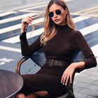 Brown Dress Long Luxury Brown Winter Sweater Dress Wholesale Boutique Long Sweaters With Belt