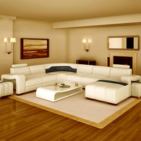 Modern Living Room High End White Leather Sofa Set 7 Seater Sectional Leather Sectional Sofa And Chair