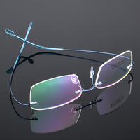 Fashion Titanium Alloy Ultralight Metal Rimless Eye Glasses Spectacle Frames Prescription Optical Eyeglasses Frames Women Men