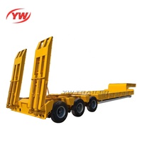 Hydraulic Ramps Low Bed Trailer 3 Axles Air Suspension Low Flatbed Lowboy Truck Semi Trailer