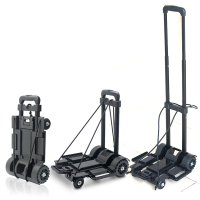 Supermarket Shopping Luggage Plastic Folding Cart With 4 Wheels Heavy Duty Trolley
