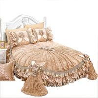 lace new design polyester wedding bedding bedspread quilted sheet set turkey