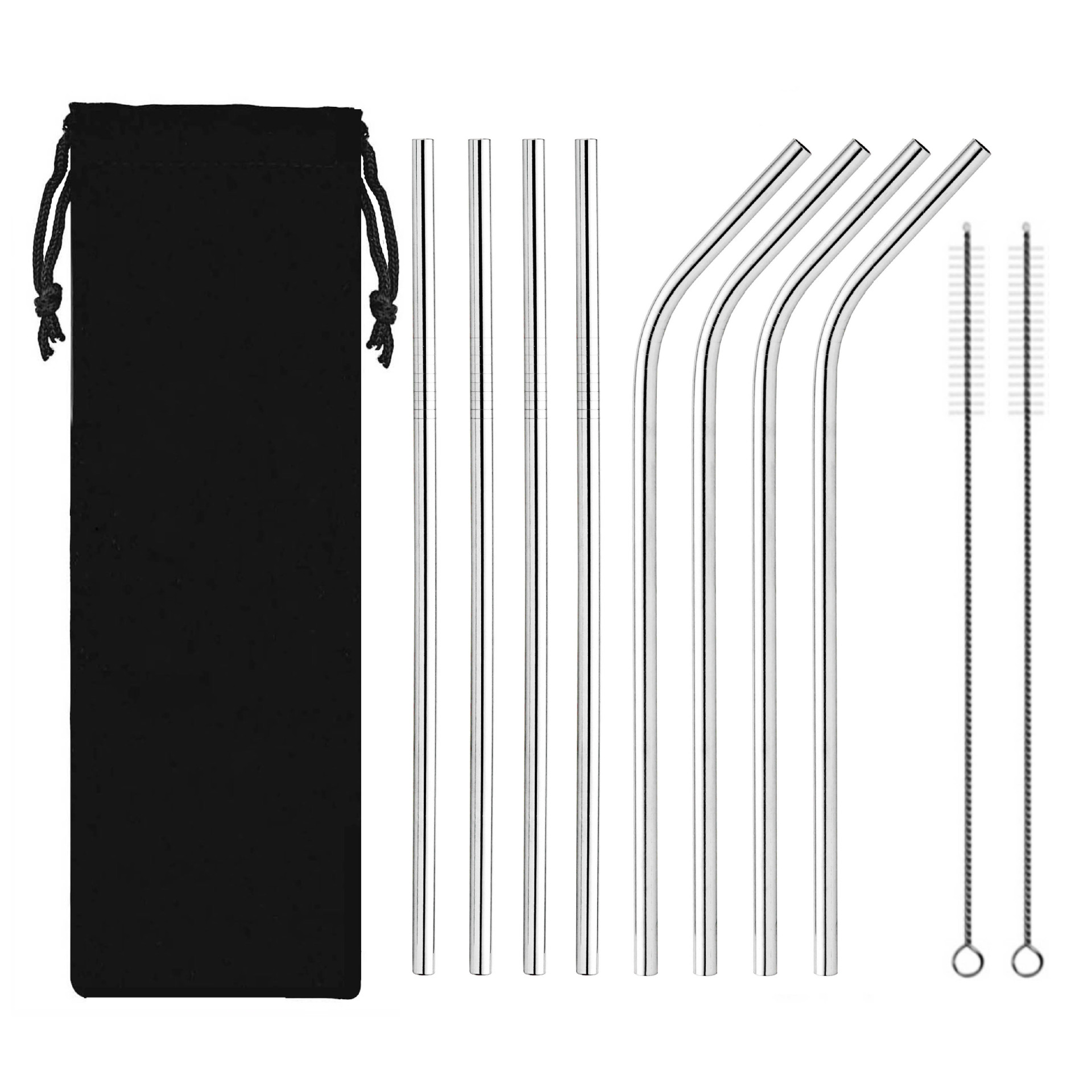 Food-grade stainless steel straw and brush set for coffee