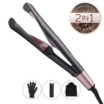 Professional Hair Straightening Irons Hai Curling Iron 2 In 1 Straightening Irons Flat Iron Hair Iron Natural Hair Stra With LCD