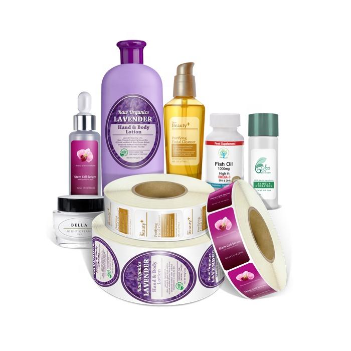 Custom private brand skin care shampoo bottle self adhesive stickers roll etiquetas soft pp printing label