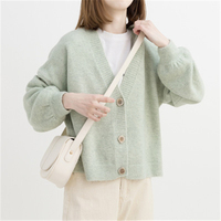 Autumn Winter Women Sweater Cardigans V neck Knit Cardigans Girls Outwear Korean Chic Tops D0181