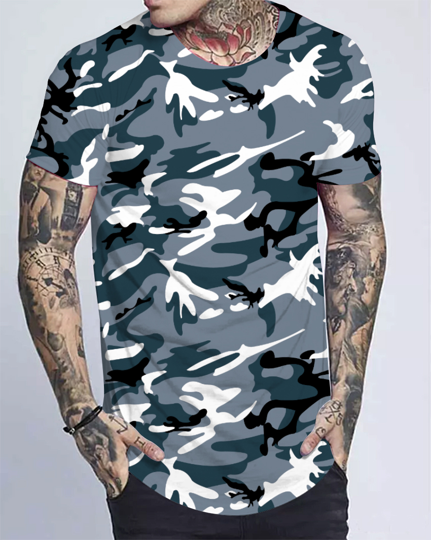 Custom  clothing manufactures 100%polyester plain camo t shirt men