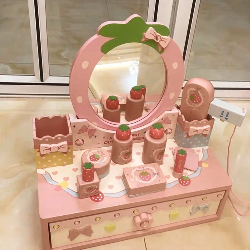 Wholesale Wooden Simulation Crown Dressing Table Girl Play House Toys Princess Make-up Furniture Toys Sets