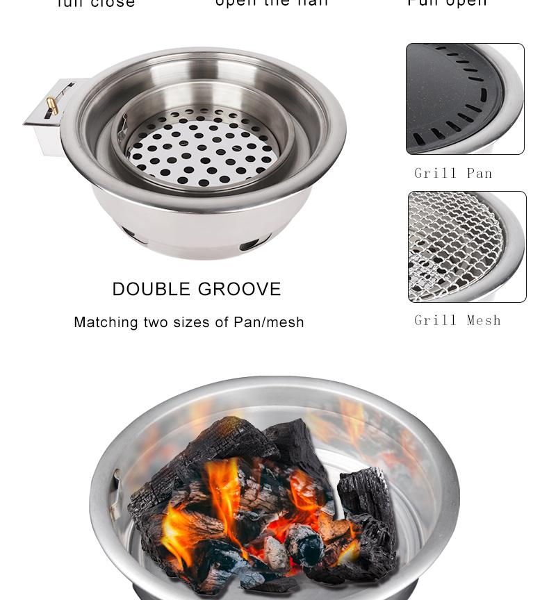 PINNIU interior churrasco grelhador a carvão para restaurante comercial churrasco sem fumaça fogão de cozinha