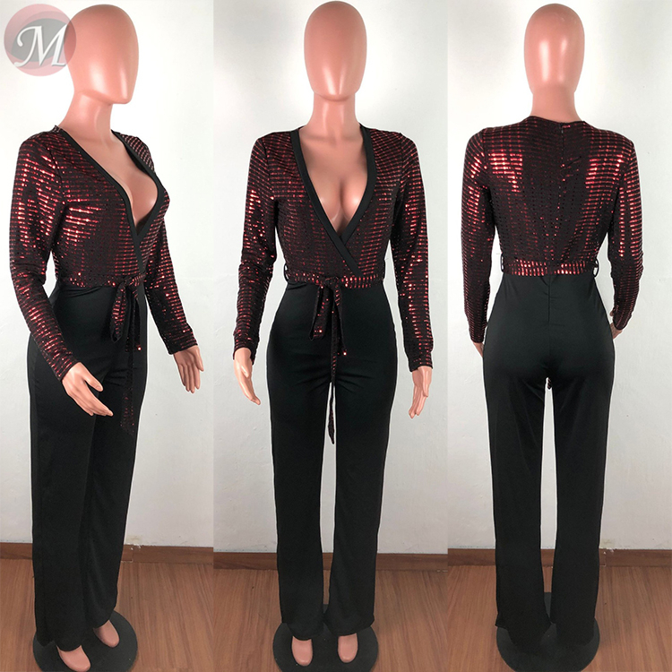 9122716 high quality sexy night club deep v neck sequin splicing long sleeve skinny Woman Romper Women Jumpsuit
