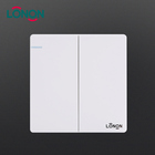16A 2 Gang 1 Way 250V White PC+Metal different color Control Switch
