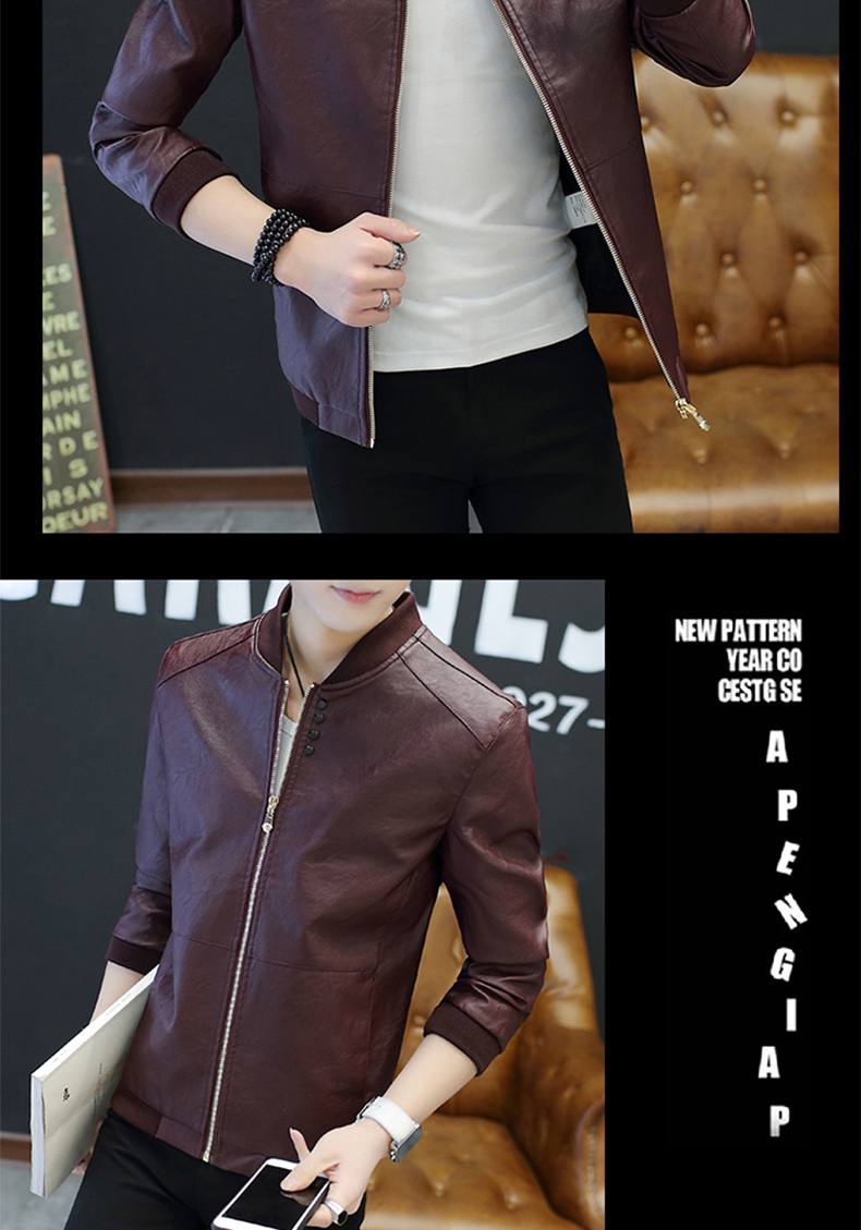 2020 New autumn Korean men's casual jacket fashion handsome pu leather jacket