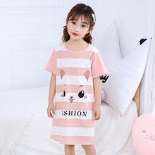 Детская ночная рубашка для девочек, 100% хлопок, с коротким рукавом(Китай)
