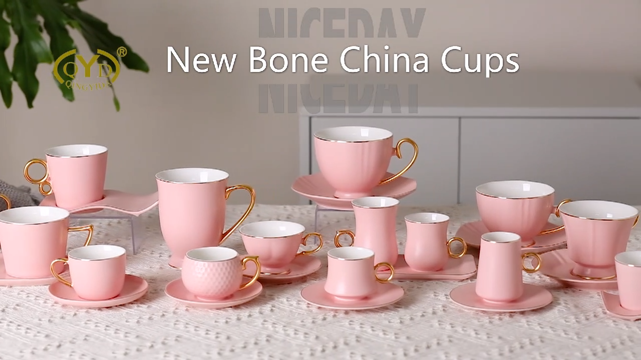 Matte bone China cup custom colors logo ceramic pink cups with saucers