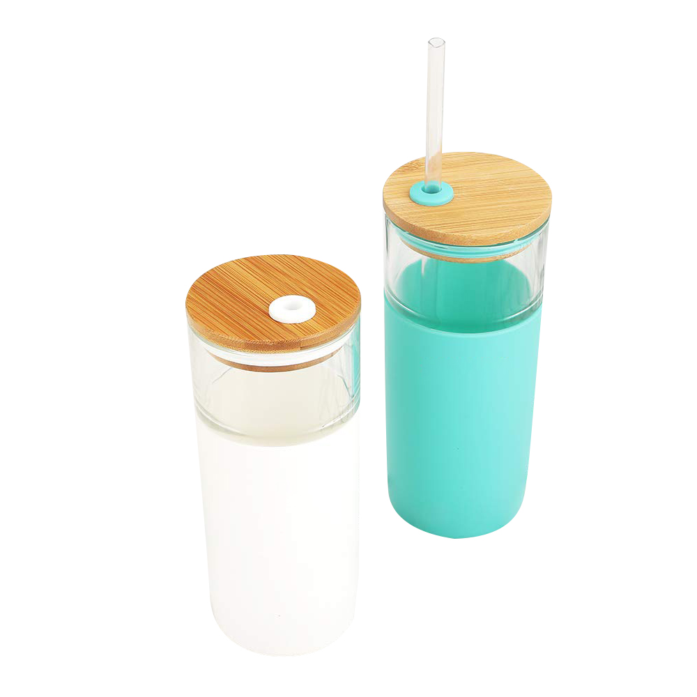 Travel Glass Bottle Tumbler With Bamboo Lid, Glass Water Bottle with Straw