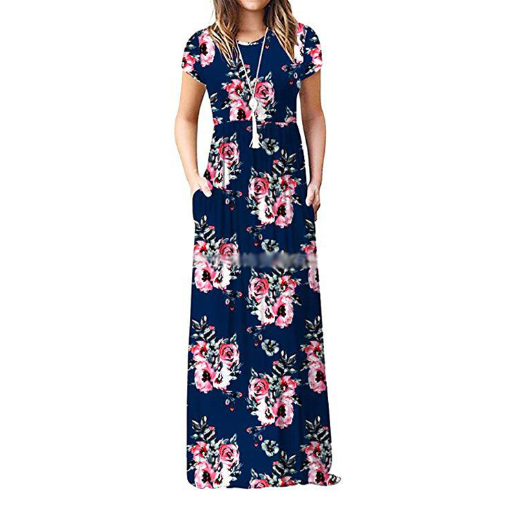 Summer Casual+Dresses Short Sleeve Pocket Printed plus size long Casual Dresses for women