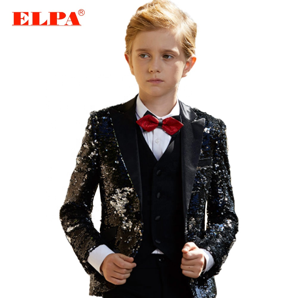 ELPA slim fit black sequence kids latest design fancy party wedding occasion wear <strong>formal</strong> <strong>suits</strong> for boys