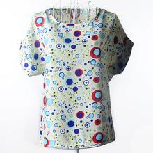 Полосатые топы, блузки с цветочным принтом, модные, с коротким рукавом, повседневные, 2020, с круглым вырезом, шифон, макси, летние женские руба...(China)