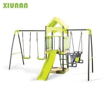 De Metal ao ar livre Playground Swing Set Com Lâmina de Plástico e de madeira