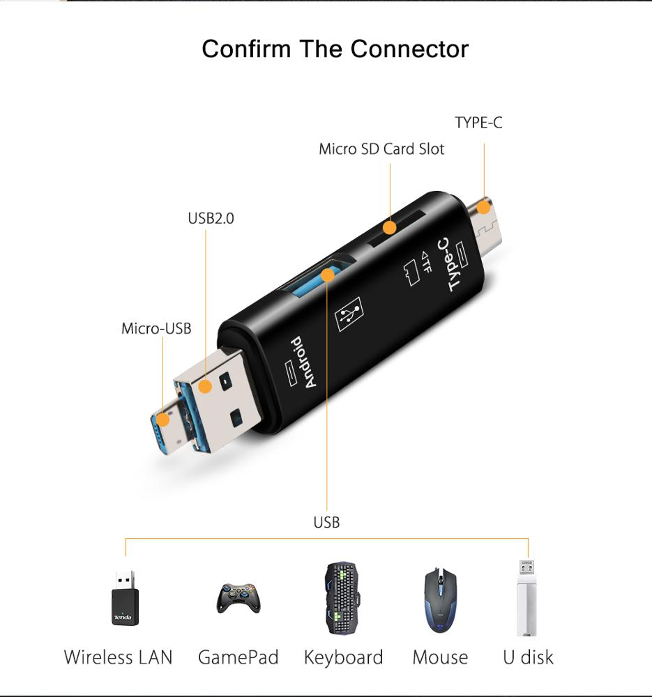 EONLINE Type C and Micro USB OTG Card Adapter 3 In 1 USB-C Reader Flash Stick TF Read Plug For Mobile Phone PC Mac Computer