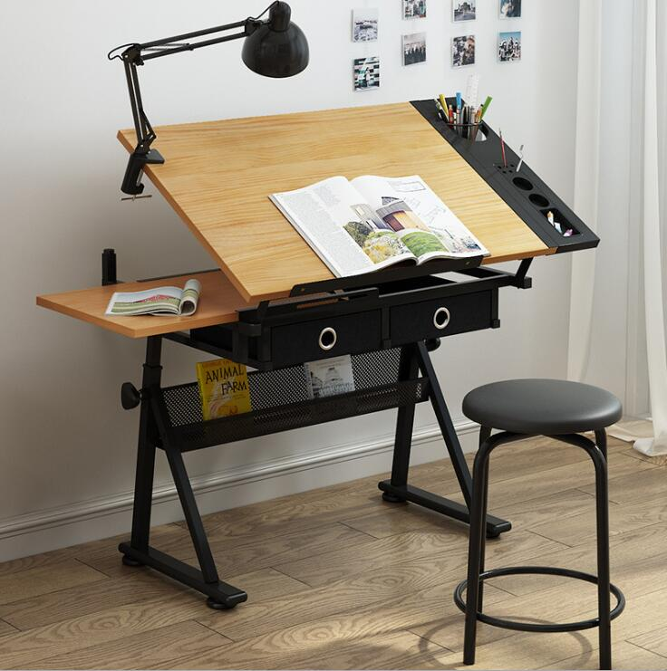Unique adjustable drawing a1 drafting table with scale holder tempered glass art work station furniture