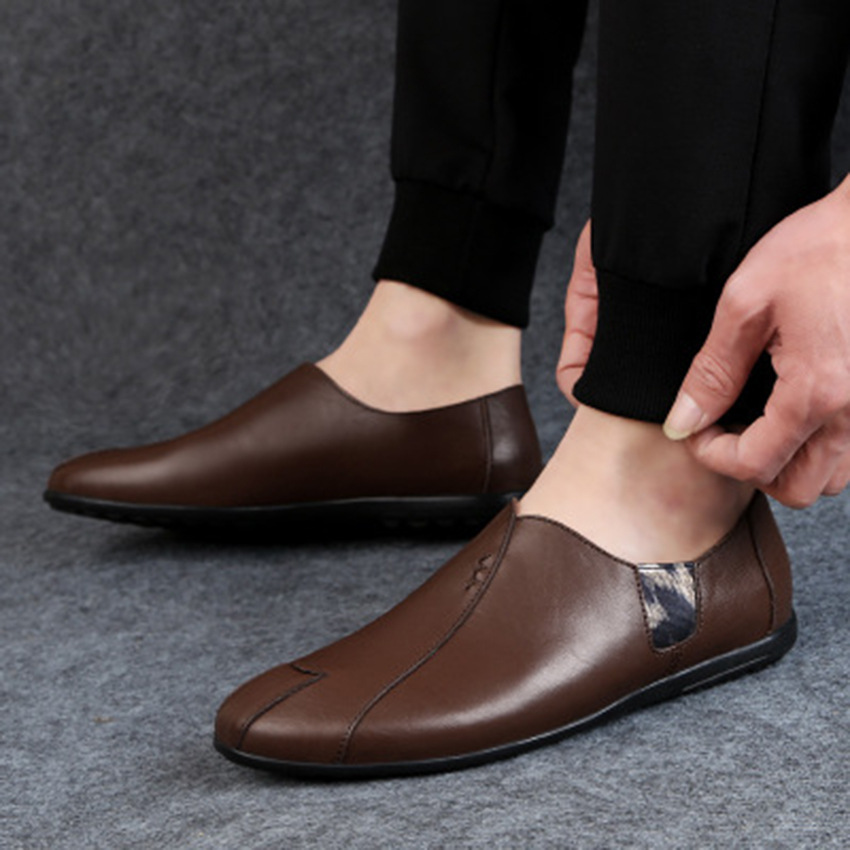 Factory Wholesale Customizable Logo Casual Cheap Price Slip-on Pu Leather Men Shoes Loafers