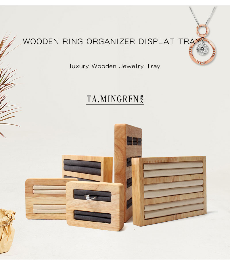 Ring Stand Ear Stud Holder Wood Jewelry Display Tray