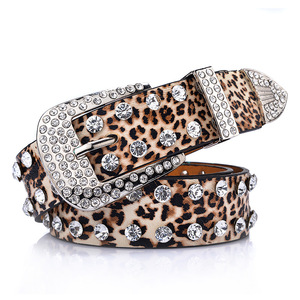 B969 Women Leather Leopard Print Pin Buckle Pants Jeans Dress Strap Diamond Inlaid Belt