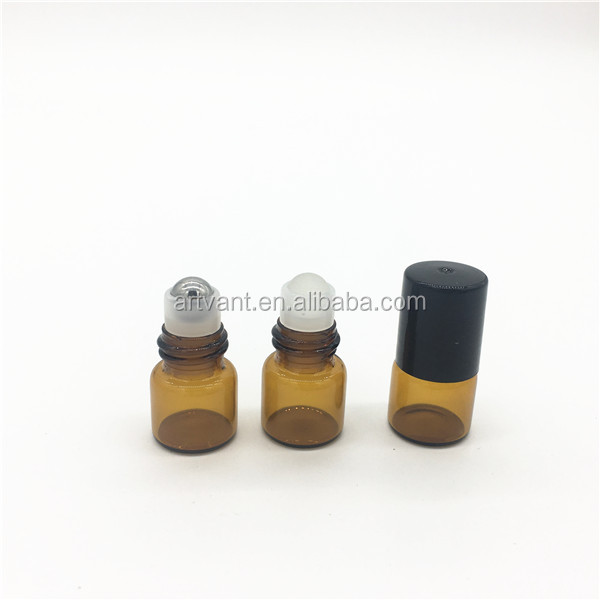 1ML Empty Refillable Glass Roll on Bottle with Stainless Steel Roller