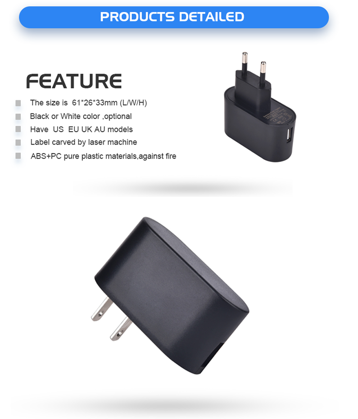 5v 1a usb charger with UL CUL CE SAA FCC ROHS CB level VI 3 years warranty