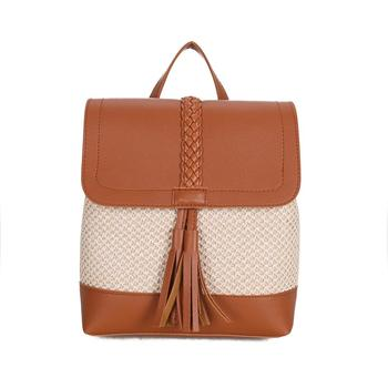 Online Shopping Straw Beach bag with leather tassels straw backpack