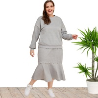 3XL 4XL 5XL Plus Size Winter Tops and Skirts Suit For Women Wholesale china