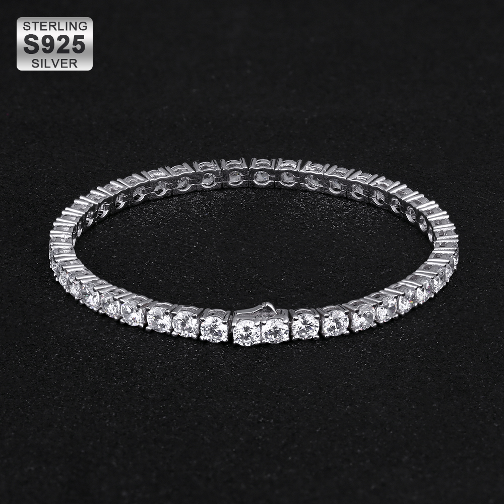 KRKC Iced Out Cubic Zircon <strong>Bracelet</strong> Sterling Silver 925 <strong>Tennis</strong> <strong>Bracelet</strong> Women Men Diamond Jewelry 925 Sterling Silver <strong>Bracelet</strong>
