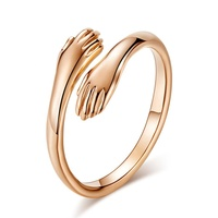 Romantic Hands Loving Hug Stainless Steel Ring Rose Gold Hug Embrace Valentine Gift Custom Hand Loving Rings Adjustable