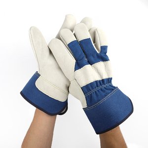 grade AB blue cheap winter oil gas vibration durable protect safety work gloves for mechanic