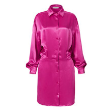 Женское шелковое платье TWOTWINSTYLE, повседневное мини-платье с отложным воротником, длинным рукавом и высокой талией, 2020(Китай)