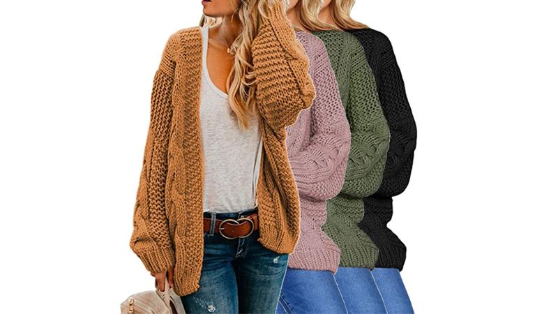 2020 Pabrik Grosir Rajut Wanita Depan Terbuka Lengan Panjang Tebal Cardigan Sweater Longgar Tahan Dr dari Cina