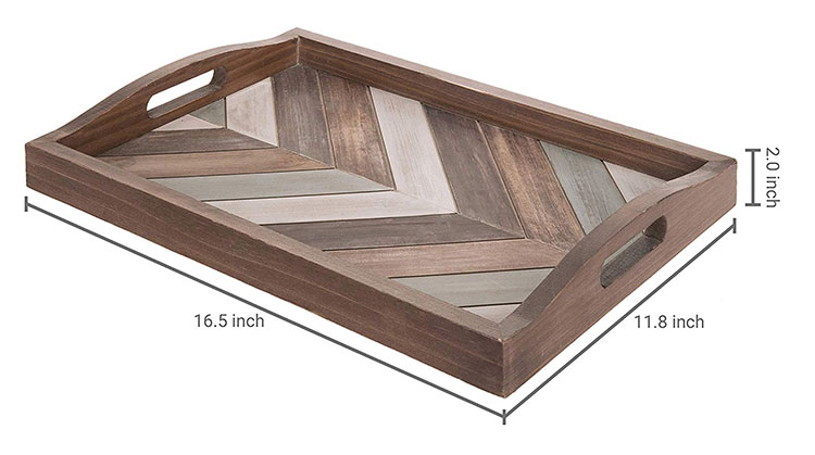 Multi-Colored Rustic Chevron Wood Decorative Ottoman Tray with Cutout Handles