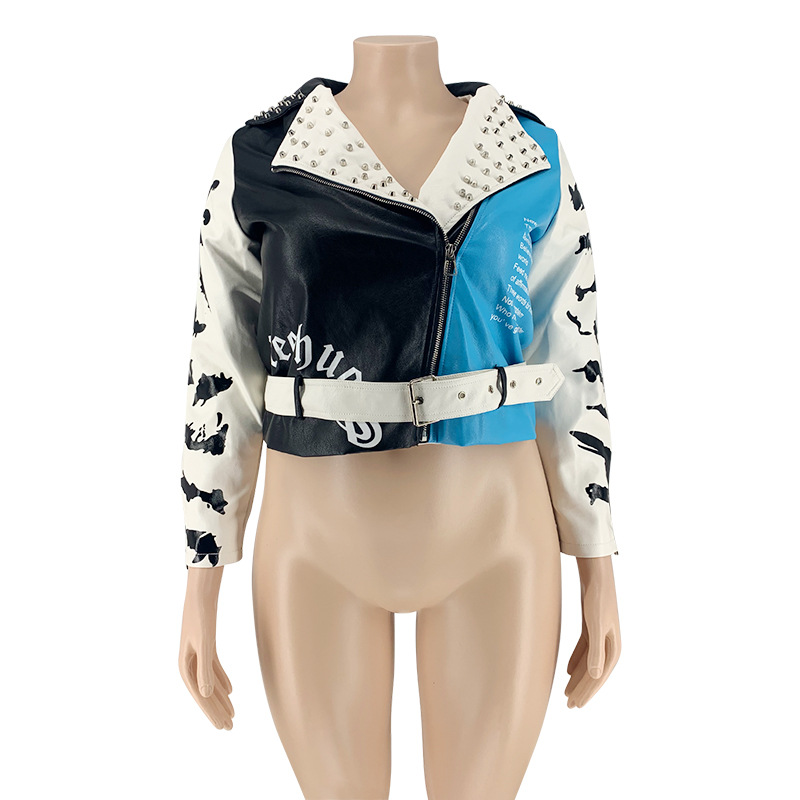 MXN Wholesale fall winter clothing rivet printed superior quality leather jackets for women
