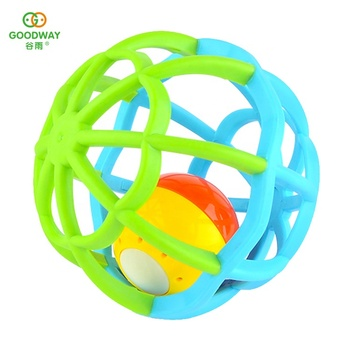 Safety Non-Toxic Soft Baby Teether Musical Light Ball Toy for Development