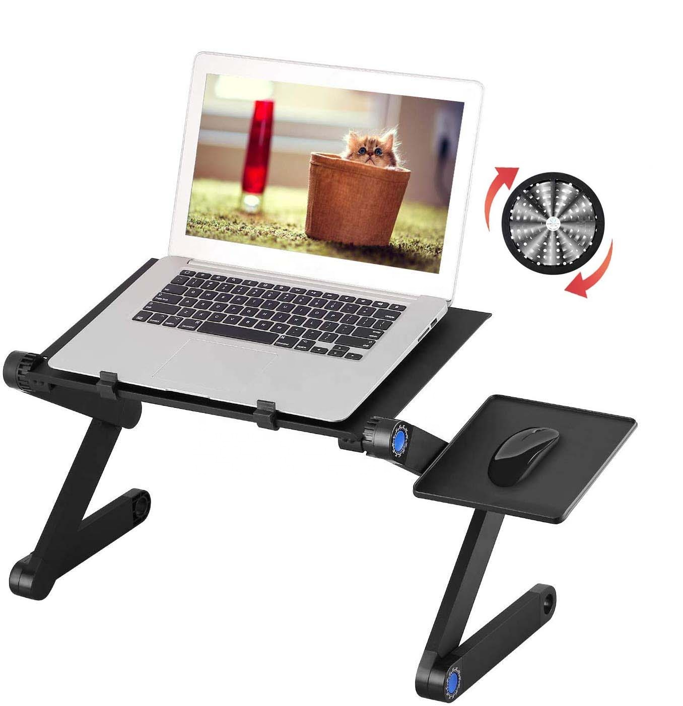 Portable <strong>Laptop</strong> Desk Sofa Stand, <strong>Laptop</strong> <strong>Folding</strong> <strong>Table</strong>, Notebook <strong>Table</strong> With Cool Fans &amp; Removable Mouse Tray &amp; Anti-Slip Bar
