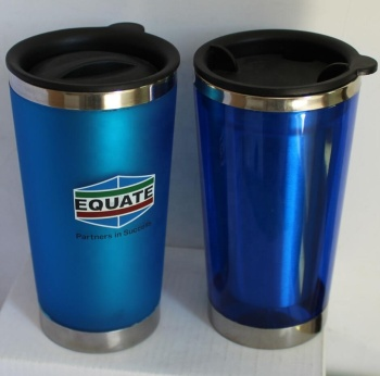 Custom Logo Printed Promotional Double Wall Plastic Travel Mug With Lid