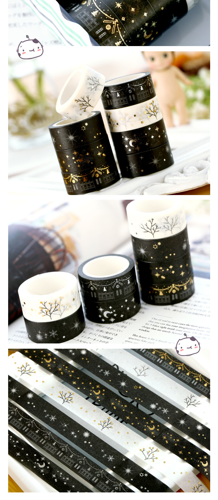 Japanese stationery tape white black adhesive paper tape silver Gold foil washi tape