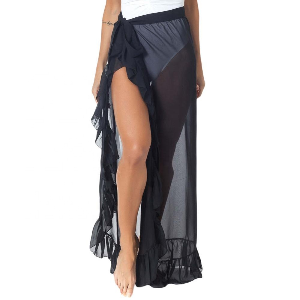 2019 Nieuwe Stijl Ruches Tulle Beach Cover up Maxi Rok Tie Voor Vrouwen Beach Cover Up Kaftan