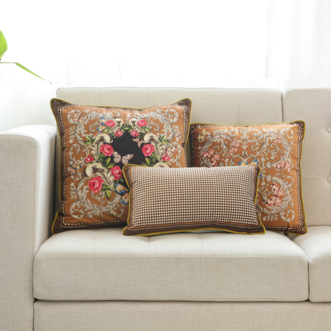 Factory Wholesale Soft Plush Floral Pattern Throw Pillow Cases Living Room Throw Pillows Chocolate