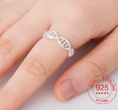 925 Sterling Sliver Unique Double Helix DNA Statement Rings For Women Chemistry Molecule Adjustable Ring Anel