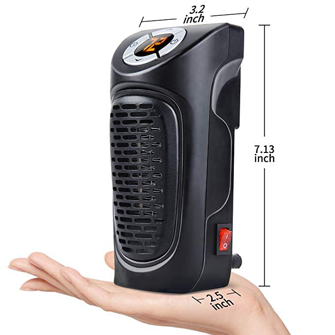 350W Plug-in Blower Mini Wall-Outlet Table Portable Electric Handy Space Heater With Digital Display Timer