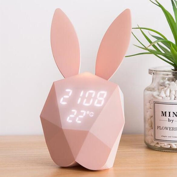 New rechargeable Lovely Voice control Decorative Wall Clock Bunny Rabbit Magnetic Alarm Clock